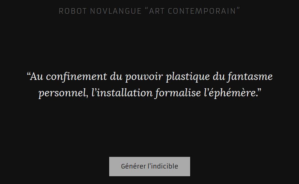 "Robot Novlangue ""Art contemporain"""